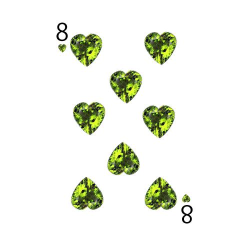 8月のイラスト―意味を知ると婚約指輪で欲しい誕生石、プリドットのトランプ